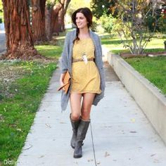 yellow dress, small brown belt, cute necklace, cardigan & knee boots.