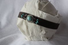 Brown and Turquoise Headband Velvet Headband by primroseandpatches