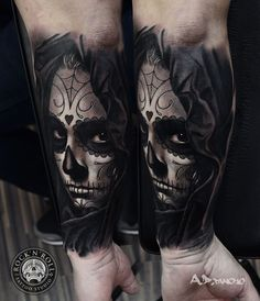 Day of the Dead Bride Tattoo by A.D. Pancho Rock N Roll Tattoo Studio Wroclaw Poland