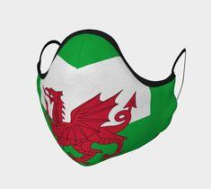 Wales Flag Non-Medical Face Covering | Etsy Wales Flag, Poppy Pins, Royal Stewart Tartan, Cool Socks, Navy Color, Face Shapes, Printed Cotton, Soft Fabrics, Medical