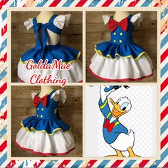 Donald Duck Disney Inspired Peekaboo Dress by GoldaMaeClothing on Etsy Disney Themed Outfits, Disney Bound Outfits, Toddler Fashion, Kids Fashion, Fashion Couple, Dance Outfits, Kids Outfits, Donald Duck Costume, Dress Up Aprons