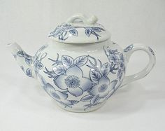 Vintage Cottage Teapot in Blue and White Floral Pattern - round globe shape, medium size - no mark