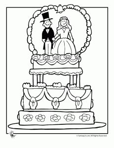 Wedding Cake Coloring Page for a kids activity book for the
