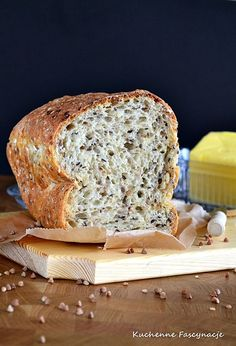 Chleb z kaszą gryczaną bez wyrabiania. Bread with buckwheat without kneading. Buckwheat, Bread, Food, Brot, Essen, Baking, Meals, Breads, Buns