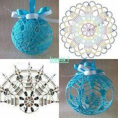 New diy christmas ball ornaments navidad 28 ideas Crochet Diy, Crochet Ball, Thread Crochet, Crochet Motif, Crochet Crafts, Yarn Crafts, Crochet Patterns, Christmas Balls Diy, Crochet Christmas Ornaments