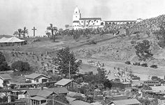 A bit of San Diego history - the Presidio - http://pinterest.com/judithburzell/ -http://tinyurl.com/3afv632 - great old photos - Old Town is just to the west of this shot.  www.sandiegohistory.org