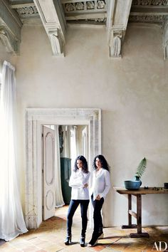 The Rome apartment of pianists Katia (left) and Marielle Labèque was renovated by architect Alessio Lipari and decorated by Axel Vervoordt | archdigest.com