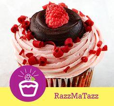RazzMaTazz Cake: Chocolate/Raspberry Swirl  Filling: Raspberry Jam  Topping: Raspberry Buttercream, Red Chocolate Curls, Chocolate Ganache and a Fresh Raspberry #cupcakesup