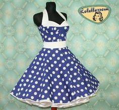 50\'s vintage dress full skirt Polka Dots by Lolablossomclothing