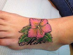 87cd7b16c Nice hibiscus flower and name tattoo on foot #Hawaiiantattoos Hibiscus Rose,  Hibiscus Flower Tattoos