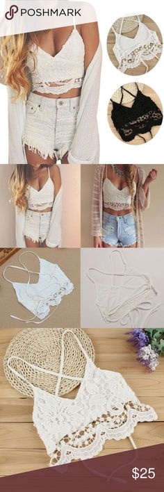 🌺Sexy Lace Floral Bralette Crop Top🌺 New Arrival Sexy Women Lace Floral Bralette Crop Top Available in Black and White Tops Crop Tops