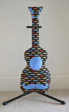 Classic Black Rainbow Moustache Pillow / Guitar by pookiedookie