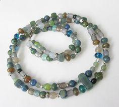 Glas-Kette böhm.Perlen Sterne in grün-blau-silber von soschoen auf DaWanda.com