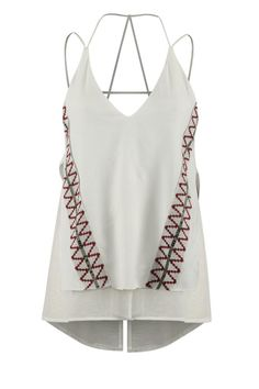 Bright white with ethnic red and black detail, a perfect summer top. Strappy in the back, sits low in the back, layered to be less sheer. Pair with trousers, boyfriend jeans, or your favorite cut off shorts, so many looks for one top.   A Little Boho Tank by Dex. Clothing - Tops - Sleeveless Clothing - Tops - Tees & Tanks Colorado