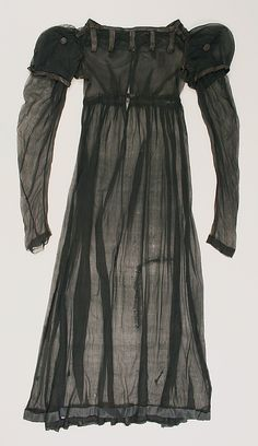 Sheer black silk dress, British, ca. 1812.