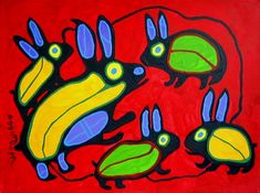 A Family of Rabbits -Anishinaabe artist Norval Morrisseau Native American Artists, Canadian Artists, Kunst Der Aborigines, Woodland Art, Aboriginal Art, Aboriginal Education, Inuit Art, Rabbit Art, Easter Art