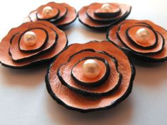 modern pink leather flowers