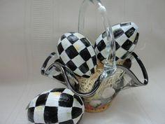 1 Mackenzie Childs Tissue Napkin w 3 of My Handpainted Black White Checked Eggs | eBay