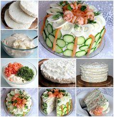 Gâteau de Sandwich 2-3 miche de pain blanc 600 g de fromage blanc 400 g crème sure 3-4 cuillères à soupe. l. délicieuse mayonnaise 4 oeufs durs 250-300 g de saumon fumé (saumon kéta, rose) 1 bouquet de ciboulette 1 bouquet d'aneth crème si nécessaire Pour décorer le dessus du gâteau: grosses crevettes cuites (quelques morceaux) tranches de saumon fumé ou salé 4-5 oeufs durs œufs de morue ou le hareng 1-2 concombre l'aneth, le persil