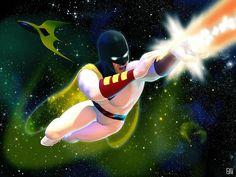 Space Ghost by Daniel Scott Gabriel Murray Dc Heroes, Comic Book Heroes, Comic Books Art, Comic Art, Book Art, Mike Allred, 70s Cartoons, School Tv, Space Ghost