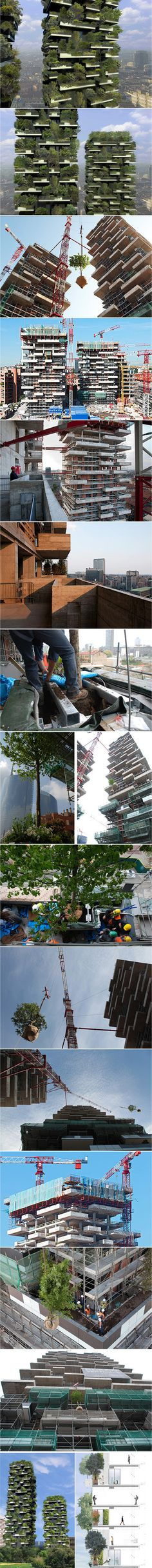 Designed by Boeri Studio (Stefano Boeri, Gianandrea Barreca and Giovanni La Varra), Bosco Verticale is a towering 27-story structure, currently under construction in Milan, Italy. Once complete, the tower will be home to the world's first vertical forest.