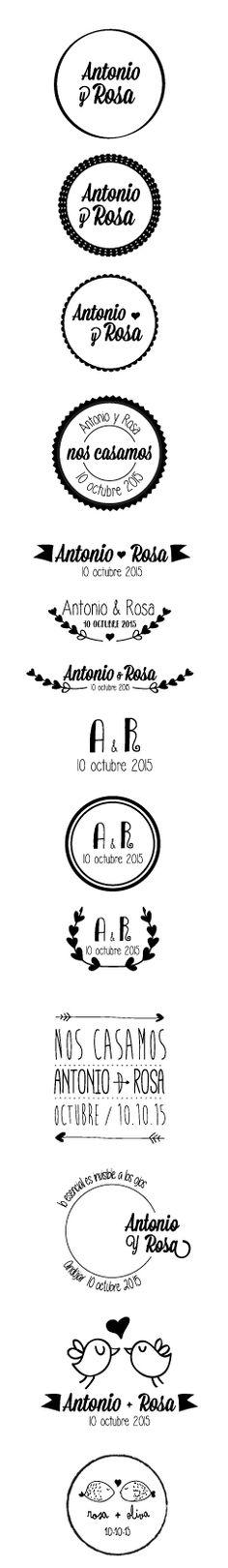 Diseño de logos para sello de caucho. #boda, #logo, #sello, rubberseal, seal,  #marriage, #matrimony, #wedlock