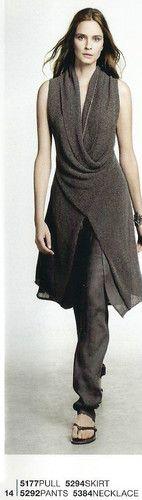 Knit dress + skinny pants