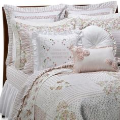 Vintage Chic Campbell Queen Quilt, Cabbage Roses Pink! Brand New! LOOK!!!