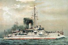"""""""S.M. Küstenpanzerschiff Hagen"""". Farblithographie nach Aquarell, 1899, von H.Graf."""