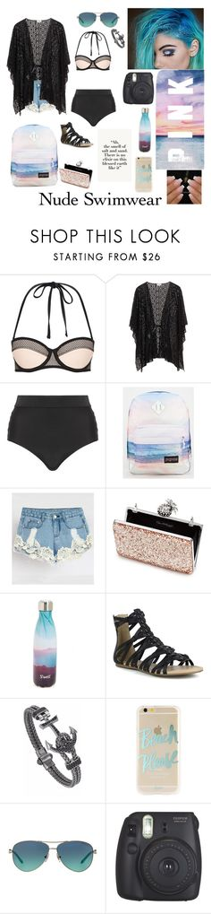 """Nude Suit, Beach Babe"" by daughter-0f-poseidon ❤ liked on Polyvore featuring Cactus, JanSport, Miss Selfridge, S'well, Mark & Maddux, Sonix, Tiffany & Co. and Fujifilm"