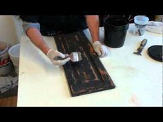 FAUX PAINTING. HOW TO CREATE A BLACK RUSTIC CABINET FINISH - YouTube