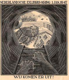 The Dutch Ex Libris circle. We're coming out. 1947.  Artist- Maurits Cornelis Escher NL  (Leeuwarden 1898- 1972 Hilversum)
