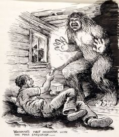 Robert Crumb Whiteman Meets Bigfoot Unpublished Illustration Original Art In TV commercial director, mu. Robert Crumb, Fritz The Cat, Art Bin, Linear Art, Alternative Comics, Scary Art, Creepy, Comic Book Artists, Psychedelic
