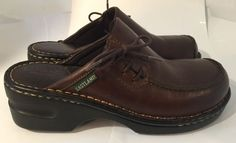 Eastland Size 7 Medium Dark Brown Leather Clogs Slip On Shoes 3831 Lace Up Side #Eastland #Clogs #All