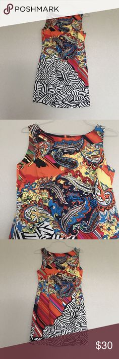 "Colorful cute Dress Cute dress purchased from Dillards by Peter Nygard . Has lovely print in  summer colors. In great condition. Size is a 8p but has a stretch to it so will Fit a size 8 women's perfecttly as well as an sz 8p woman. Dress is 34.5"" long Peter Nygard  Dresses"