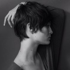 This picture is a great example of keeping a short hair cut feminine. The neck can be the sexiest part of a woman so the last thing you want to do is leave a hard line (think NO clippers!) I never like to leave a hard hair line on the neck or around the ear.  I find it will always grow out improperly.  A soft hair line (think point cutting, or razoring!) along the neck and ear looks more natural.  The more natural the cut the longer rate of successfully styling! Lauren…