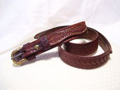 Genuine Saddle Leather Belt Walnut Brown Tooled by cachecastle
