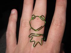 Wire Wrapped Kermit The Frog MADE to ORDER Adjustable Ring Medium. $8.00, via Etsy.