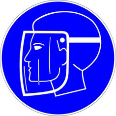 Science Laboratory Safety Signs: Blue Eye or Face Protection Symbol