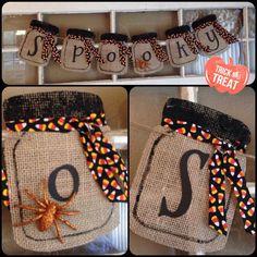Halloween banner, spooky banner, mason jar banner, holiday banner, bottom banner, fall banner by Thebannergirls on Etsy https://www.etsy.com/listing/243592887/halloween-banner-spooky-banner-mason-jar