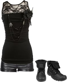 """Untitled #638"" by bvb3666 ❤ liked on Polyvore  Maybe if the shorts weren't leather...?"