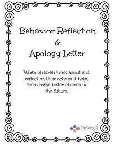 Behavior Reflection worksheet Apology letter packet. Great for teachers, school counselors and for use at home. #TPT $1.00