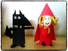 Le loup et le petit chaperon rouge, bricolage enfant, rouleau papier WC