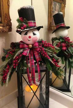 Plaid Snowman Lantern | Winter Decor