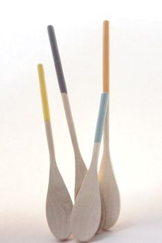 Wooden Spoons Set of 4: Melon, Light Blue, Yellow and Light Grey
