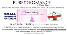 Shop my Pink Friday - Cyber Monday sale, view products at www.nicoledewey.pureromance.com
