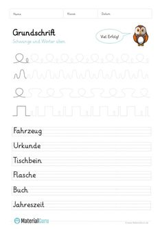 Grundschrift - MaterialGuru German Language Learning, Lettering, Aaliyah, Education, Words, Montessori, Homeschooling, Activities, Learn To Read