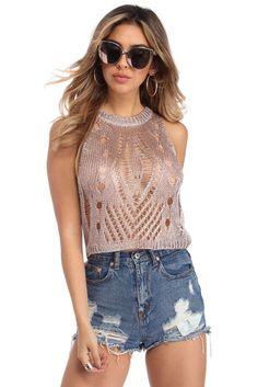 Pink Metallic Knit Tank Top | WindsorCloud