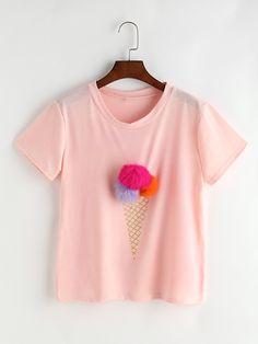 Camiseta estampada de helado con diseño de bolas-Spanish SheIn(Sheinside)