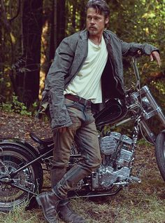 Jacket by Greg Lauren. T-shirt and jeans by MadeWorn. BRAD PITT BY MARK SELIGER.